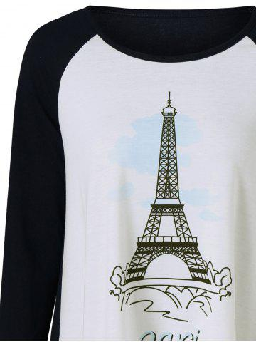 Outfit Eiffel Tower Print T-Shirt - M WHITE AND BLACK Mobile