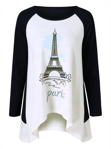 Trendy Eiffel Tower Print T-Shirt WHITE AND BLACK M