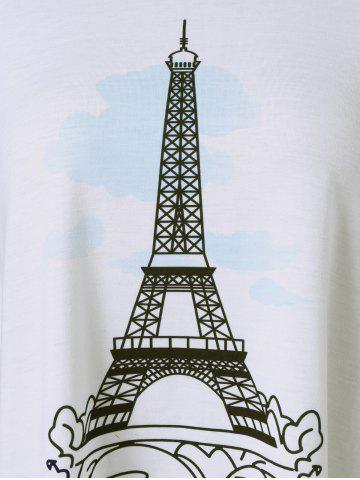 Discount Eiffel Tower Print T-Shirt - M WHITE AND BLACK Mobile