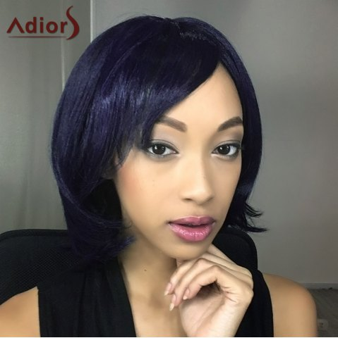 Best Adiors Short Shaggy Straight Oblique Bang Synthetic Wig PURPLISH BLUE