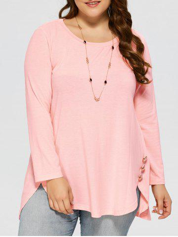 Cheap Plus Size Button Decorated High Low T-Shirt SHALLOW PINK XL