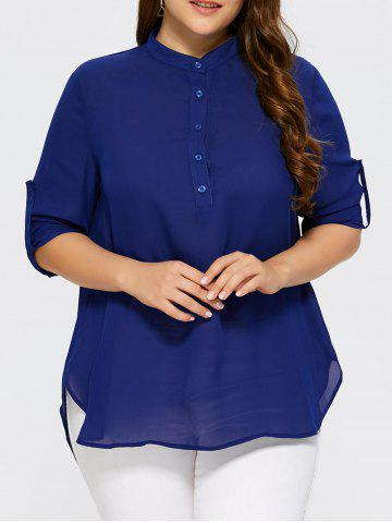 Fashion Plus Size Overlap High Low Hem Blouse