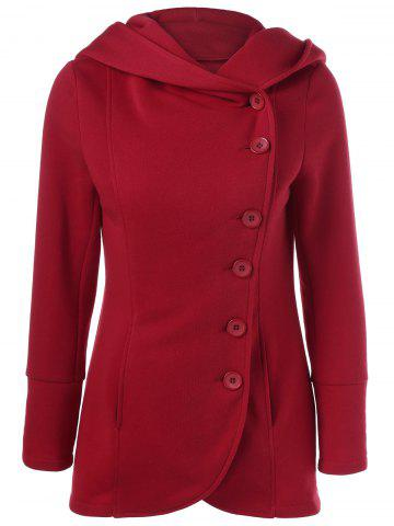 Cheap Pocket Buttoned Hooed Coat