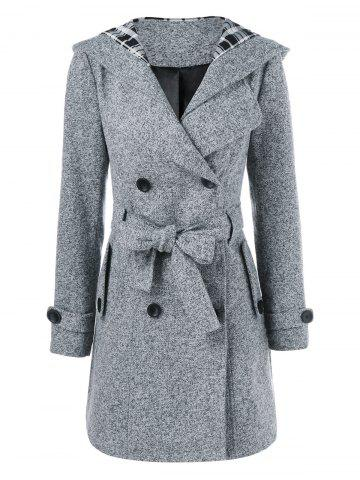 Hooded Long Wrap Belted Double Breasted Coat - Gray - M