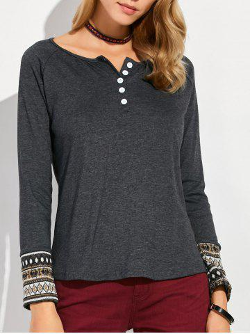 Hot Raglan Sleeve Button Design Geometric T-Shirt - M DEEP GRAY Mobile