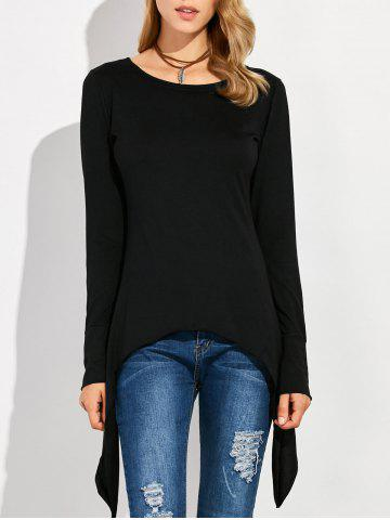 Discount Asymmetric Long Sleeve Scoop Neck T-Shirt BLACK 2XL
