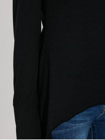 Outfits Asymmetric Long Sleeve Scoop Neck T-Shirt - S BLACK Mobile