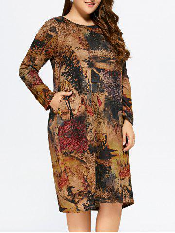 Outfits Plus Size Scenery Print Baggy Dress