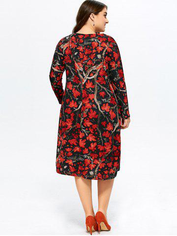 Outfit Plus Size Maple Print Baggy Dress - 3XL RED Mobile
