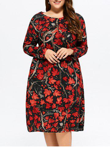Fancy Plus Size Maple Print Baggy Dress