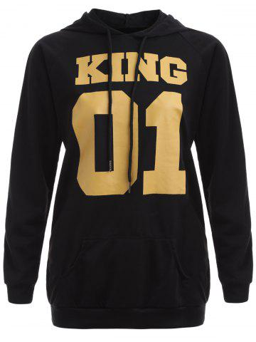 Chic King and Number Print Hoodie
