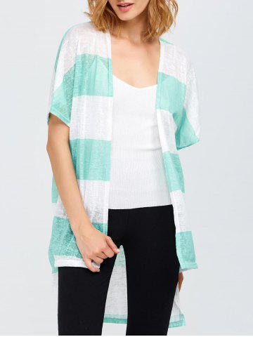 Cheap Striped High Low Hem Cardigan
