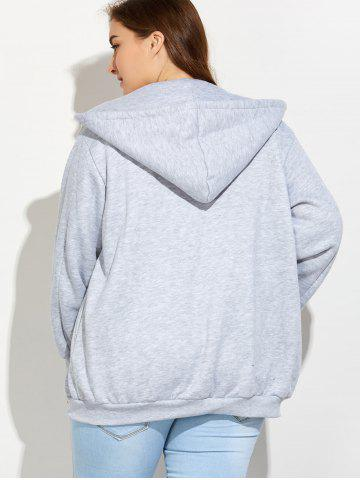 Outfits Plus Size Zipper Up Pockets Design Hoodie - 5XL LIGHT GRAY Mobile