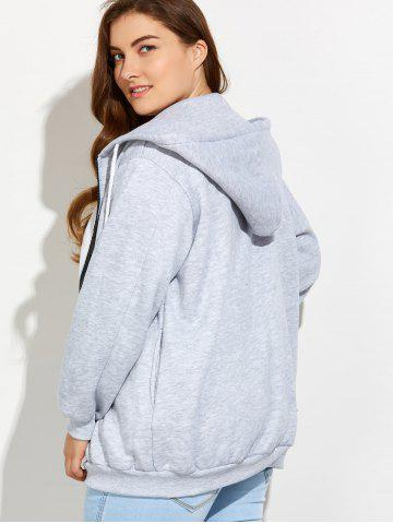 Outfits Plus Size Zipper Up Pockets Design Hoodie - 4XL LIGHT GRAY Mobile