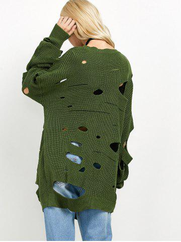 Online Crew Neck Cut Out Sweater - L GREEN Mobile