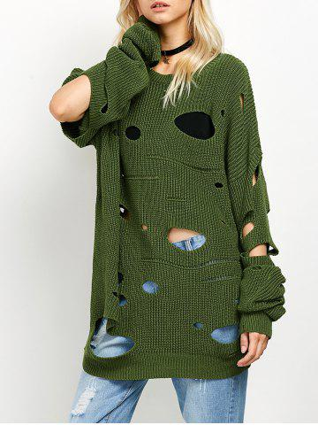 Shops Crew Neck Cut Out Sweater - L GREEN Mobile