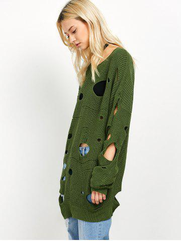 Outfit Crew Neck Cut Out Sweater - L GREEN Mobile