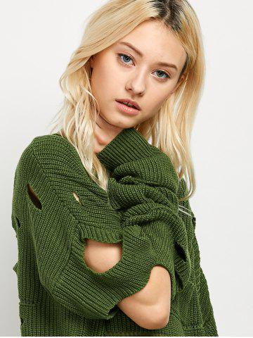 Outfits Crew Neck Cut Out Sweater - L GREEN Mobile
