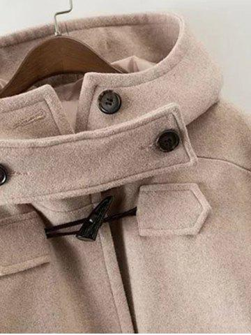 Outfit Hooded Wrap Oversized Woollen Blend Coat - M KHAKI Mobile