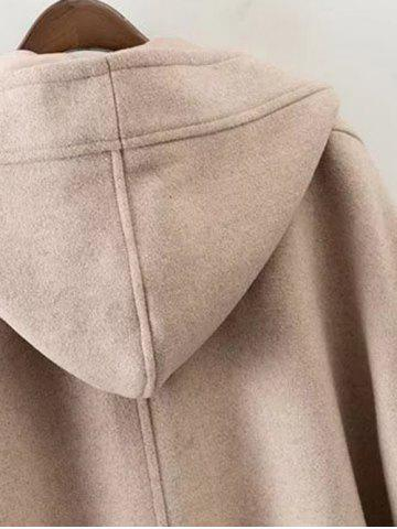 Outfit Hooded Wrap Oversized Woollen Blend Coat - S KHAKI Mobile