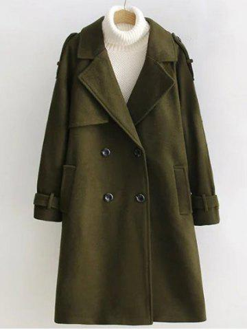 Latest Double Breasted Woollen Blend TLong rench Coat - S OLIVE GREEN Mobile