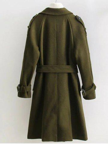 Outfits Double Breasted Woollen Blend TLong rench Coat - S OLIVE GREEN Mobile