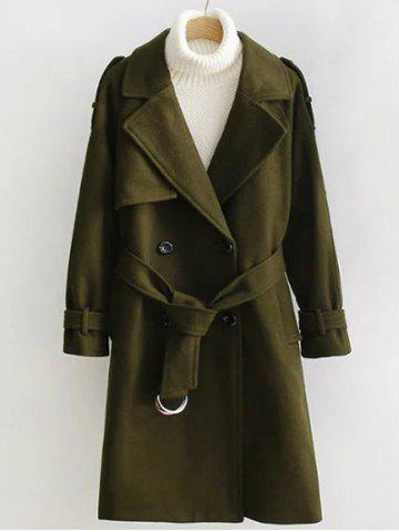Fashion Double Breasted Woollen Blend TLong rench Coat OLIVE GREEN S