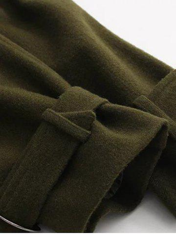 Shop Double Breasted Woollen Blend TLong rench Coat - S OLIVE GREEN Mobile