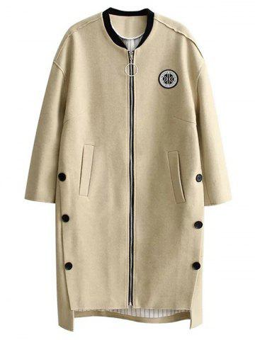 High Low Cocoon Coat - Beige - S