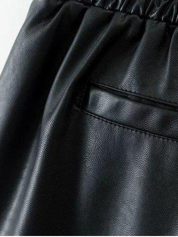 Discount Drawstring Faux Leather Shorts - S BLACK Mobile