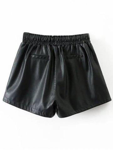 Chic Drawstring Faux Leather Shorts - S BLACK Mobile
