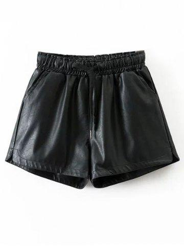 Outfit Drawstring Faux Leather Shorts BLACK S