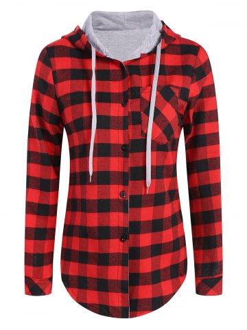 Fashion Hooded Checked Blouse RED L