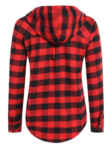 Sale Hooded Checked Blouse - M RED Mobile