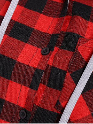 Store Hooded Checked Blouse - M RED Mobile
