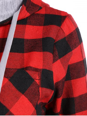 Store Hooded Checked Blouse - S RED Mobile