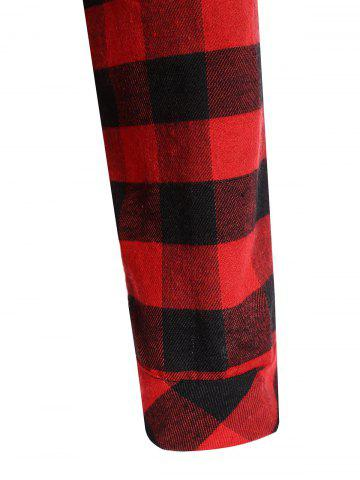 Unique Hooded Checked Blouse - S RED Mobile