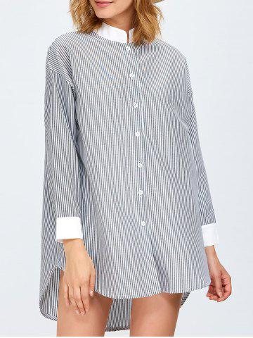 Store High Low Pinstriped Tunic Shirt Dress - ONE SIZE GREY AND WHITE Mobile