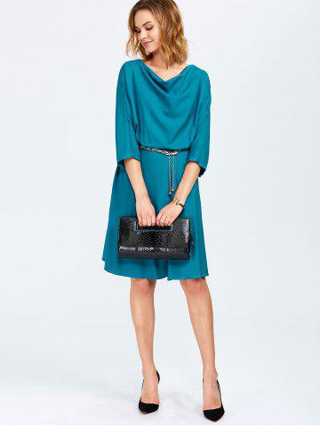Hot Cowl Neck A Line Dress - ONE SIZE PEACOCK BLUE Mobile