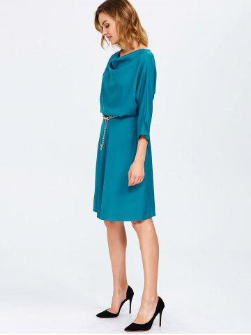 Chic Cowl Neck A Line Dress - ONE SIZE PEACOCK BLUE Mobile