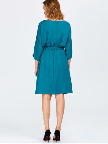 Discount Cowl Neck A Line Dress - ONE SIZE PEACOCK BLUE Mobile
