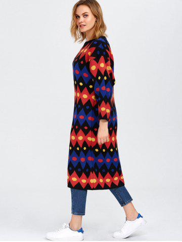 Cheap Color Block Midi Shift Sweater Dress - ONE SIZE RED Mobile
