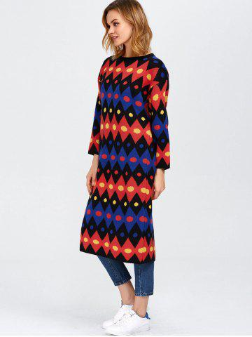Best Color Block Midi Shift Sweater Dress - ONE SIZE RED Mobile
