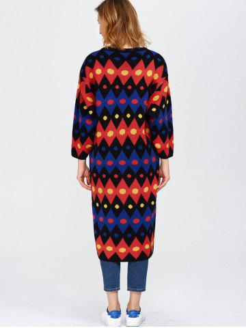 Sale Color Block Midi Shift Sweater Dress - ONE SIZE RED Mobile