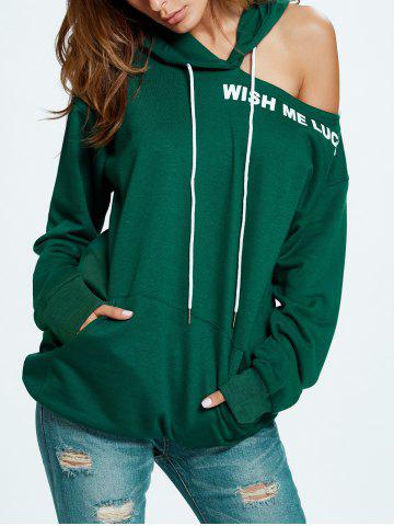 Latest Wish Me Luck Graphic Cold Shoulder Hoodie - ONE SIZE GREEN Mobile