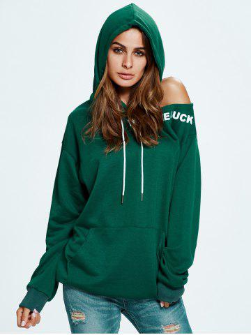 Online Wish Me Luck Graphic Cold Shoulder Hoodie - ONE SIZE GREEN Mobile