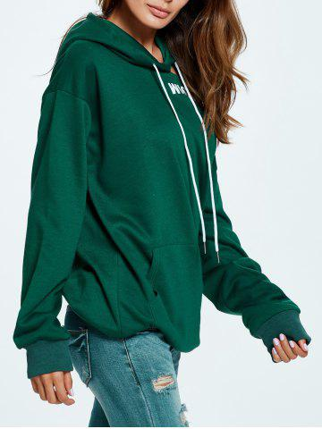 New Wish Me Luck Graphic Cold Shoulder Hoodie - ONE SIZE GREEN Mobile