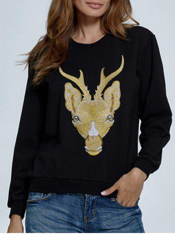 Outfit Deer Embroidered Sweatshirt