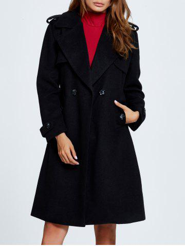 Hot Lapel Double Breasted Belted Wool Blend Coat