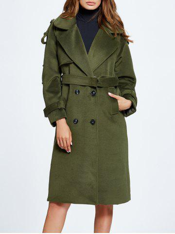 Fancy Lapel Belted Double Breasted Wool Blend Coat